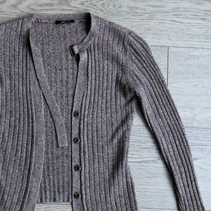 Button up Cardigan Ribbed Sweater Bell Sleeve